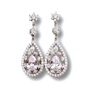 Statement Bridal Earrings of Cubic Zirconia Drop and Swarovski Pearl