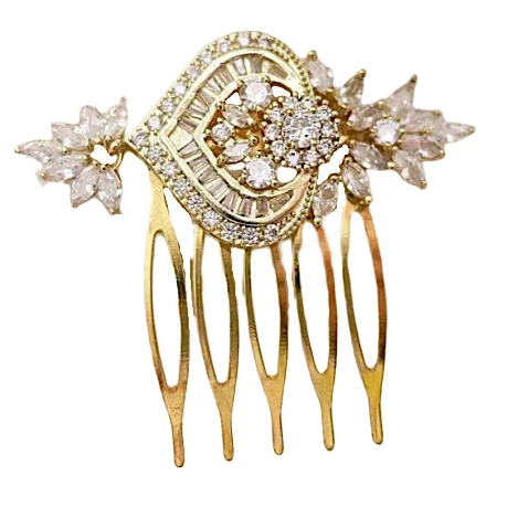 Gold Wedding Hair Comb with Crystal Leaves and Heart