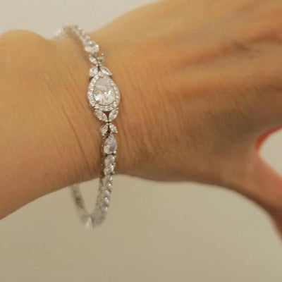 Bridal Bracelet Crystal Drop and Marquise Leaf Bracelet JazzyAndGlitzy