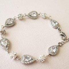 Bridal Bracelet with Swarovski Pearl and Cubic Zirconia CZB108