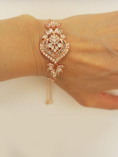 Cubic Zirconia Wedding Bracelet for BridesMIA Bracelet Rose Gold JazzyAndGlitzy JG-BR-HTTENNIS-RGD 90444642