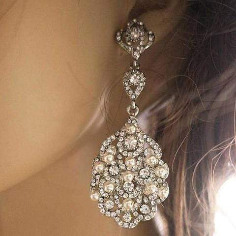 Bridal Chandelier Earrings with Pearls