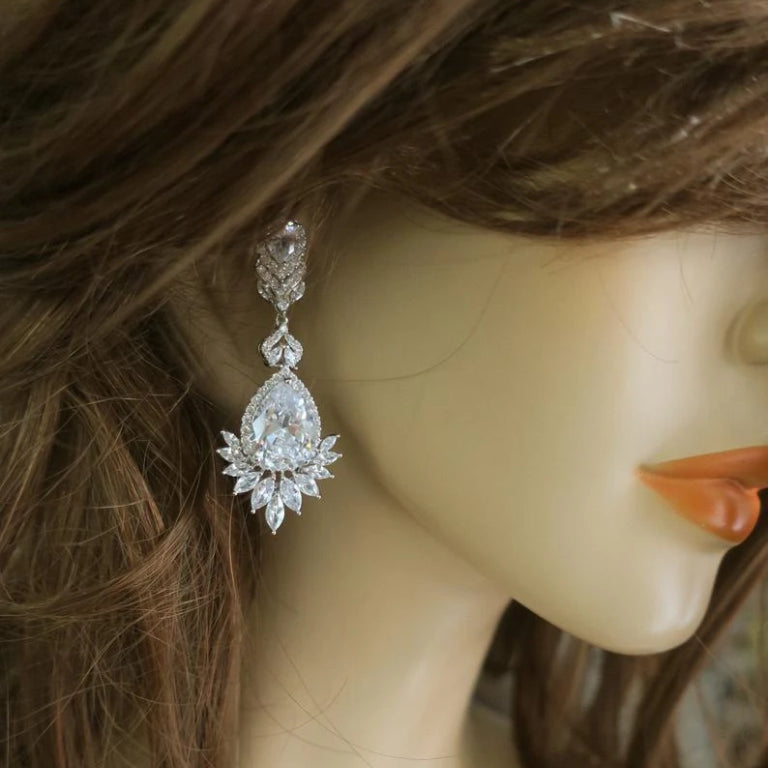 Bridal Chandelier Earrings Art Deco Earrings JazzyAndGlitzy