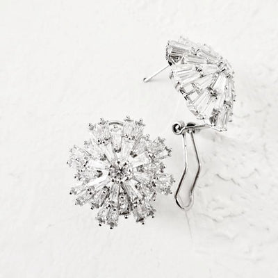 Cubic Zirconia Ice Flower Earrings Earrings JazzyAndGlitzy 856 90444559