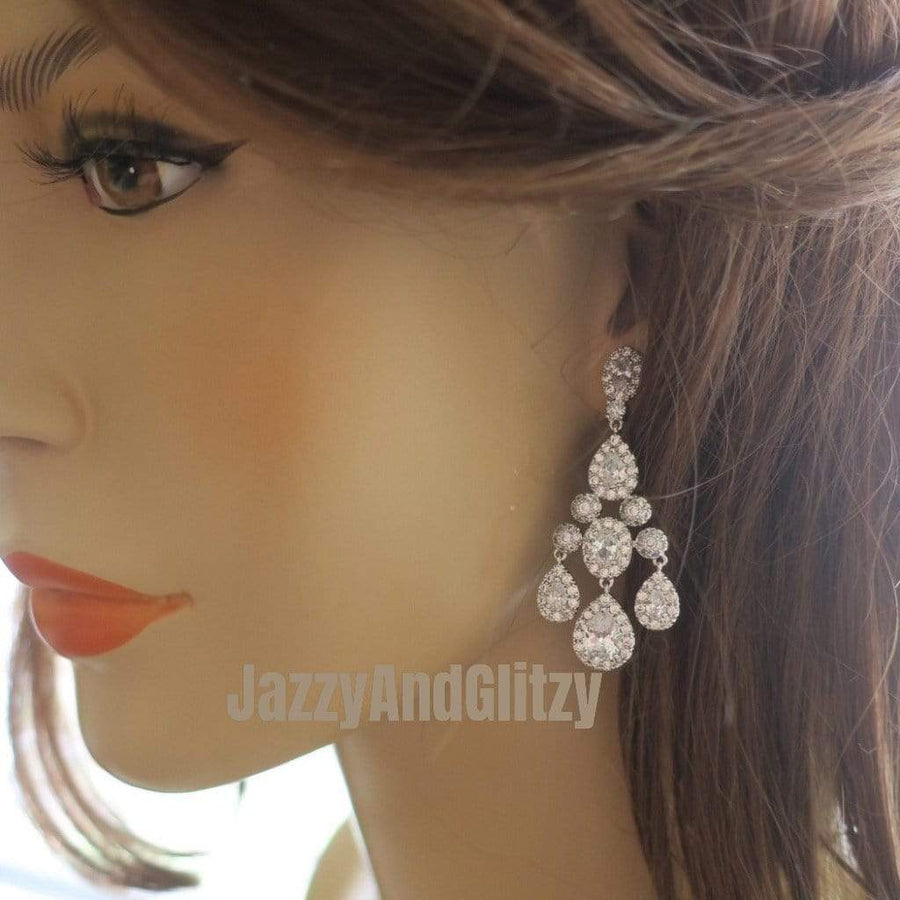 Chandelier Wedding Earrings Crystal Teardrop Earrings JazzyAndGlitzy