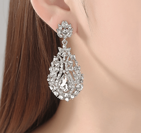 Chandelier Wedding Earrings with Large Crystal Drop