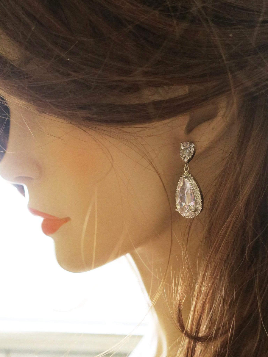 Cubic Zirconia Drop Earrings in Old Hollywood Style for The Bride