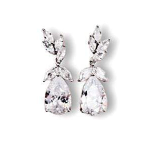 Cubic Zirconia Drop Leaf Dangle Earrings Earrings JazzyAndGlitzy ZKL121 90444556