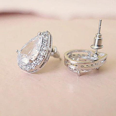 Cubic Zirconia Teardrop Stud Earrings 16mm Earrings JazzyAndGlitzy