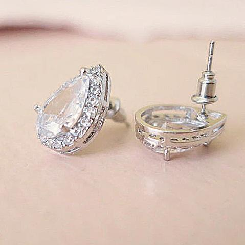 Cubic Zirconia Teardrop Stud Earrings 16mm