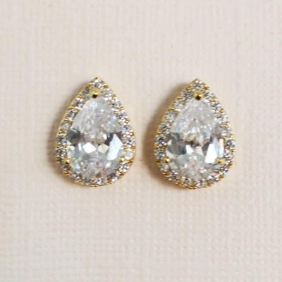Cubic Zirconia Teardrop Stud Earrings 16mm Earrings gold JazzyAndGlitzy JG-EAR-TEARD-GD 90444628