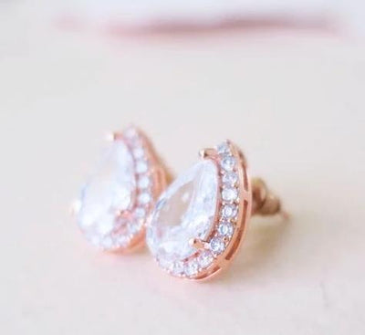 Cubic Zirconia Teardrop Stud Earrings 16mm Earrings rose gold JazzyAndGlitzy JG-EAR-TEARD-RGD 90444627