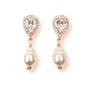 CZ Pave Drop Swarovski Pearl Earrings for Weddings Earrings JazzyAndGlitzy JG-EAR-DLDROP-RGDPEARL 90444651