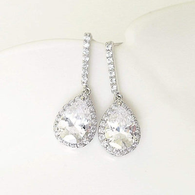 CZ Pave Teardrop Bridal Earrings Dangle Earrings JazzyAndGlitzy 904447871044