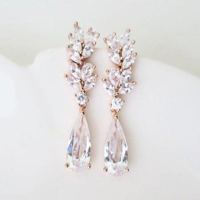 Dainty Cubic Zirconia Leaf Wedding Earrings Earrings JazzyAndGlitzy
