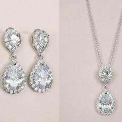 Drop Bridal Earrings Crystal Wedding Necklace Earrings JazzyAndGlitzy JG-EARDL-OHOLLYWOOD-SR 90444676