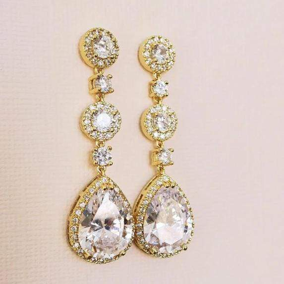 Long Dangle Drop Cubic Zirconia Bridal Earrings in Gold Earrings JazzyAndGlitzy JG-EAR-DLLONGEMMAYA-CZ 90444703