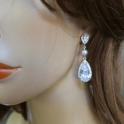 Long Drop Earrings with Cubic Zirconia and Swarovski Pearl Earrings JazzyAndGlitzy