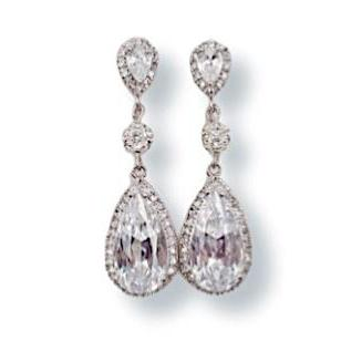 Long Drop Earrings with Cubic Zirconia and Swarovski Pearl