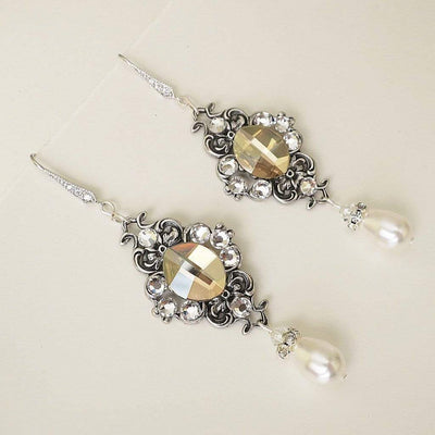 Long Wedding Earrings with Golden Swarovski Crystals MAE Earrings JazzyAndGlitzy