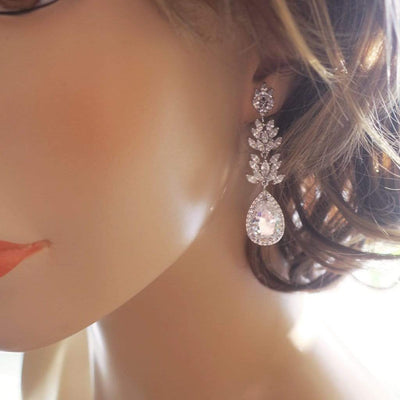 Marquise Cubic Zirconia Cluster Teardrop Bridal Earrings Earrings JazzyAndGlitzy JG-EAR-LEAFDANGLE-SR 90444712