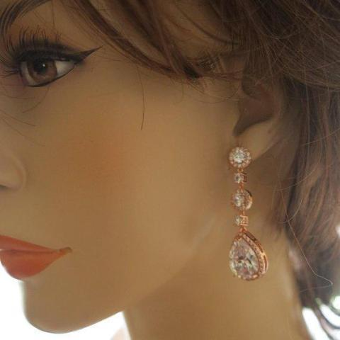 Rose Gold Bridal Earrings Long Dangle Drop in Vintage Style Earrings Rose Gold JazzyAndGlitzy 90444754