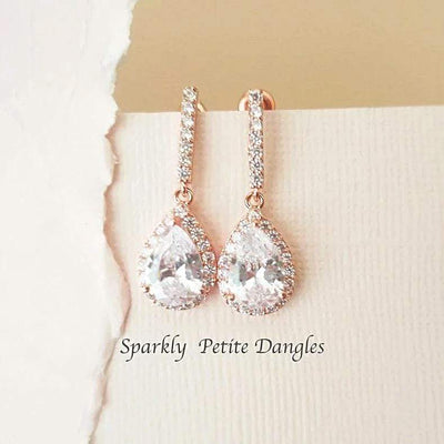 Rose Gold Drop Cubic Zirconia Earrings Earrings Rose Gold JazzyAndGlitzy 90444551