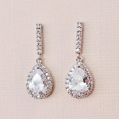 Rose Gold Drop Cubic Zirconia Earrings Earrings Silver JazzyAndGlitzy 90444550