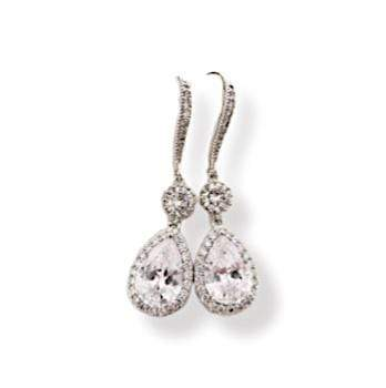 Rose Gold Drop Earrings Dangle with Cubic Zirconia