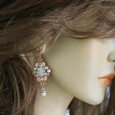 Rose Gold Sterling / Swarovski Wedding Earrings VECOYA