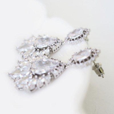 Simulated Diamond Bridal Earrings Dangle with Cubic Zirconia Marquise Leaf Earrings JazzyAndGlitzy 904447862016