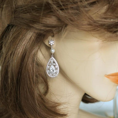 Statement Bridal Earrings of Cubic Zirconia Drop and Swarovski Pearl Earrings JazzyAndGlitzy