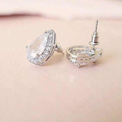 Teardrop Earrings Diamond Cubic Zirconia Sterling Silver Earrings JazzyAndGlitzy 90444817