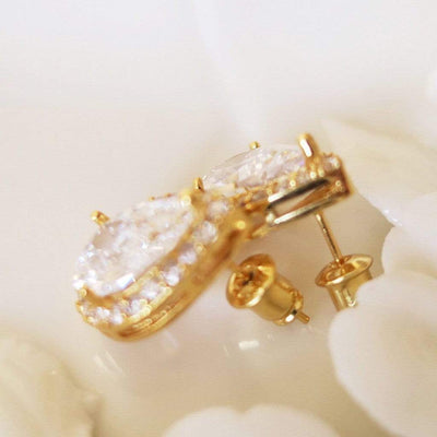 Teardrop Stud Earrings for Wedding Party Earrings Gold JazzyAndGlitzy JG-EAR-SD-GD 90444614