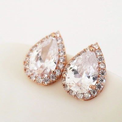 Teardrop Stud Earrings for Wedding Party Earrings Rose Gold JazzyAndGlitzy JG-EAR-SD-RGD 90444615