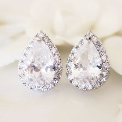 Teardrop Stud Earrings for Wedding Party Earrings Silver JazzyAndGlitzy JG-EAR-SD-SR 90444613