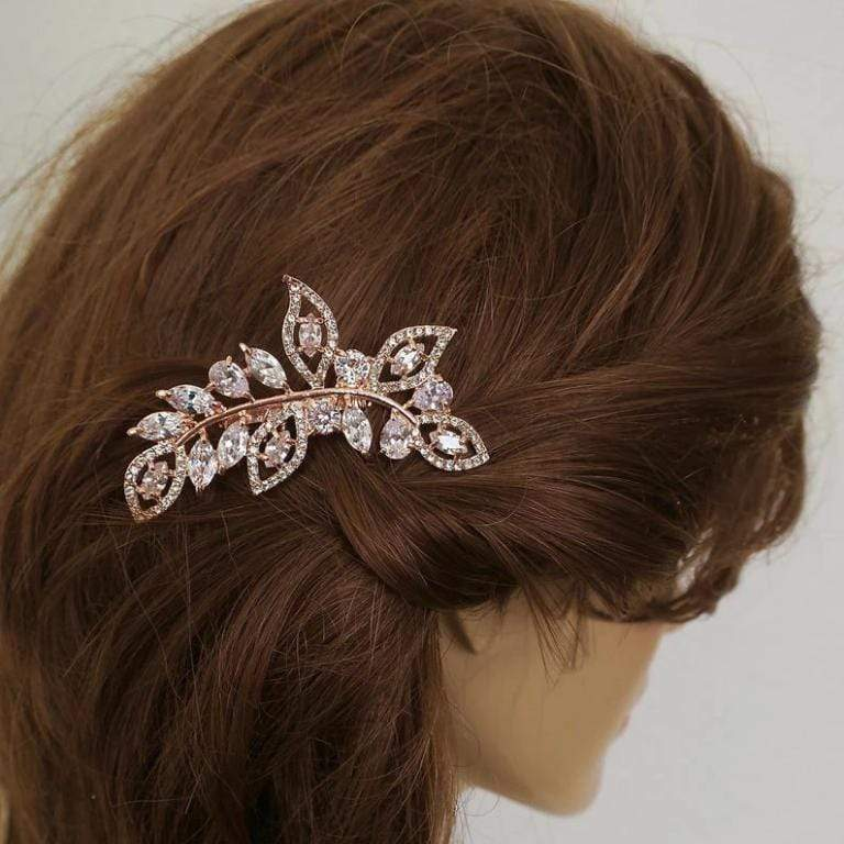 Gold Bridal Hair Comb With CZ Leaves