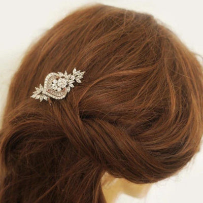 Gold Wedding Hair Comb with Crystal Leaves and Heart JazzyAndGlitzy