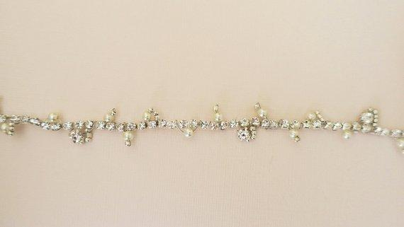 Bohemian Bridal Headpiece with Pearl Rhinestone Hair Accessories JazzyAndGlitzy