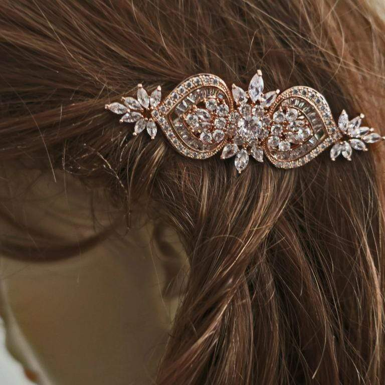 Bridal Hair Comb for Veil of CZ Flower and Heart Hair Accessories JazzyAndGlitzy