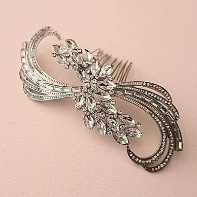 Bridal Bow Hair Comb in Vintage Art Deco Style Hair Accessories JazzyAndGlitzy