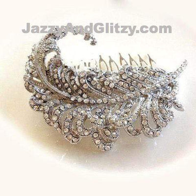 Bridal Hair Comb with Silver Rhinestone Feather Hair Accessories JazzyAndGlitzy