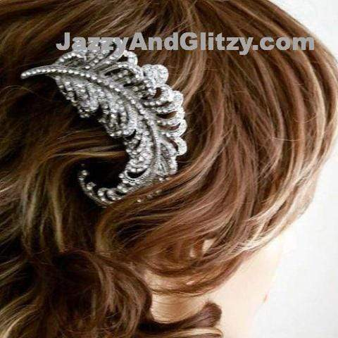 Bridal Hair Comb with Silver Rhinestone Feather