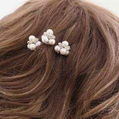 Bridal Hair Pins with Swarovski Pearls Lilliana Hair Accessories JazzyAndGlitzy