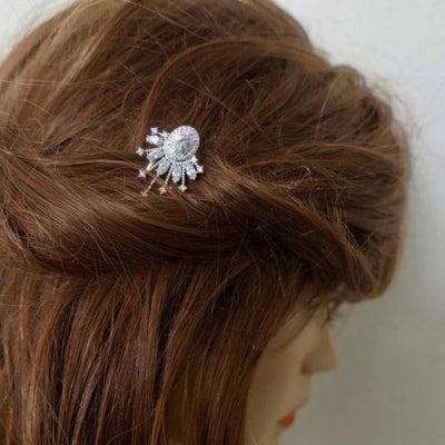 Crystal Fan Shape Wedding Hair Pin Parla Hair Accessories JazzyAndGlitzy