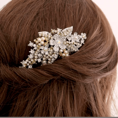 Golden Wedding Hair Comb with AB Crystal Pearl Flowers