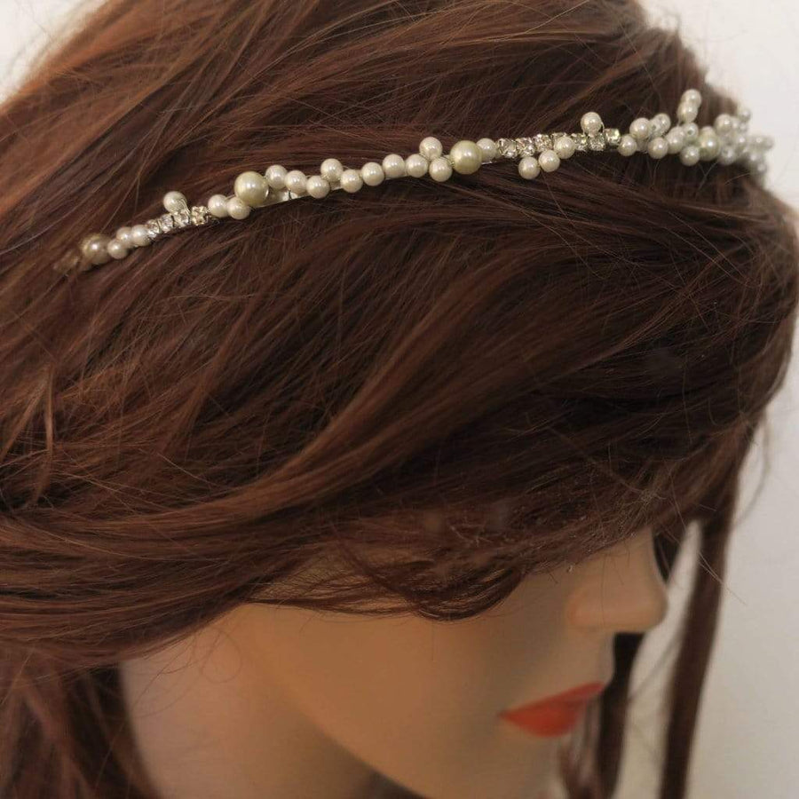 Pearl Bridal Headband Thin Wedding Tiara Hair Accessories JazzyAndGlitzy