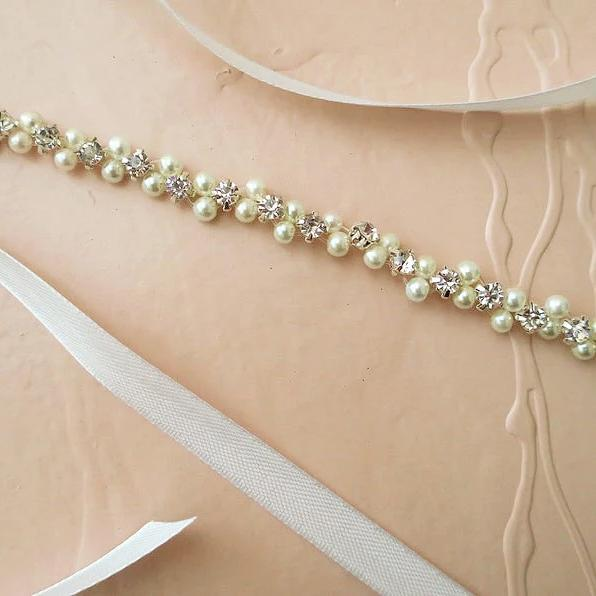 Pearl Crystal Beaded Wedding Headband Hair Accessories JazzyAndGlitzy
