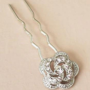 Rhinestone Flower Wedding Hair Pins in Silver Hair Accessories JazzyAndGlitzy 3dRose 90444744