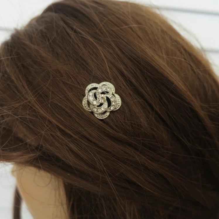 Rhinestone Flower Wedding Hair Pins in Silver